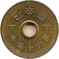 reverse of 5 Yen - Heisei (1989 - 2015) coin with Y# 96 from Japan. Inscription: 五円