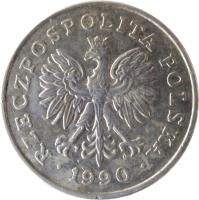 obverse of 100 Złotych (1990) coin with Y# 214 from Poland. Inscription: RZECZPOSPOLITA POLSKA 1990