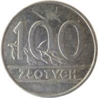 reverse of 100 Złotych (1990) coin with Y# 214 from Poland. Inscription: 100 ZŁOTYCH