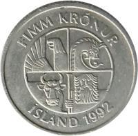 obverse of 5 Krónur (1981 - 1992) coin with KM# 28 from Iceland. Inscription: FIMM KRÓNUR ÍSLAND 1992