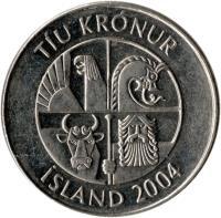 obverse of 10 Krónur (1996 - 2008) coin with KM# 29.1a from Iceland. Inscription: TÍU KRÓNUR ÍSLAND 2004