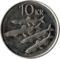 reverse of 10 Krónur (1996 - 2008) coin with KM# 29.1a from Iceland. Inscription: 10 KR