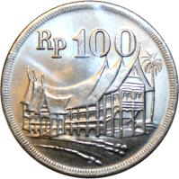 obverse of 100 Rupiah (1973) coin with KM# 36 from Indonesia. Inscription: Rp 100