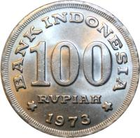 reverse of 100 Rupiah (1973) coin with KM# 36 from Indonesia. Inscription: BANK INDONESIA 100 RUPIAH 1973