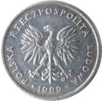 obverse of 2 Złote (1989 - 1990) coin with Y# 80.3 from Poland. Inscription: POLSKA RZECZPOSPOLITA LUDOWA · 1989 ·