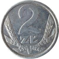 reverse of 2 Złote (1989 - 1990) coin with Y# 80.3 from Poland. Inscription: 2 ZŁ