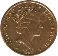 obverse of 1 Penny - Elizabeth II - 3'rd Portrait (1996 - 1998) coin with KM# 588 from Isle of Man. Inscription: ISLE OF MAN ELIZABETH II 1997