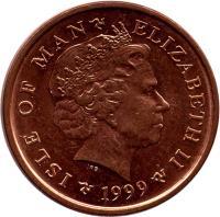 obverse of 2 Pence - Elizabeth II - 4'th Portrait (1998 - 1999) coin with KM# 901 from Isle of Man. Inscription: ISLE OF MAN ELIZABETH II 1999