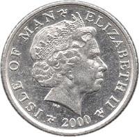obverse of 5 Pence - Elizabeth II - 4'th Portrait (2000 - 2003) coin with KM# 1038 from Isle of Man. Inscription: ISLE OF MAN ELIZABETH II 2002