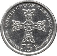 reverse of 5 Pence - Elizabeth II - 4'th Portrait (2000 - 2003) coin with KM# 1038 from Isle of Man. Inscription: GAUT'S CROSS CARVING 5