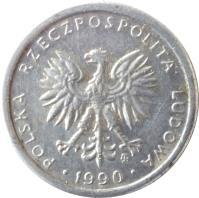 obverse of 1 Złoty - Smaller (1989 - 1990) coin with Y# 49.3 from Poland. Inscription: POLSKA RZECZPOSPOLITA LUDOWA · 1990 ·