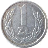 reverse of 1 Złoty - Smaller (1989 - 1990) coin with Y# 49.3 from Poland. Inscription: 1 ZŁ