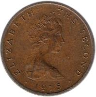 obverse of 1 New Penny - Elizabeth II - 2'nd Portrait (1971 - 1975) coin with KM# 20 from Isle of Man. Inscription: ELIZABETH THE SECOND · 1971 ·