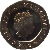 obverse of 20 Pence - Elizabeth II - 4'th Portrait (2004 - 2015) coin with KM# 1257 from Isle of Man. Inscription: ISLE OF MAN ELIZABETH II 2012