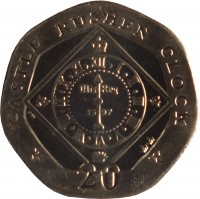 reverse of 20 Pence - Elizabeth II - 4'th Portrait (2004 - 2015) coin with KM# 1257 from Isle of Man. Inscription: CASTLE RUSHEN CLOCK 20