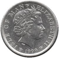 obverse of 5 Pence - Elizabeth II - 4'th Portrait (1998 - 1999) coin with KM# 902 from Isle of Man. Inscription: ISLE OF MAN ELIZABETH II 1998