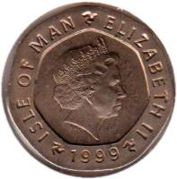 obverse of 20 Pence - Elizabeth II - 4'th Portrait (1998 - 1999) coin with KM# 904 from Isle of Man. Inscription: ISLE OF MAN ELIZABETH II 1999