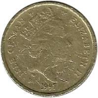 obverse of 1 Pound - Elizabeth II - 3'rd Portrait (1996 - 1997) coin with KM# 594 from Isle of Man. Inscription: ISLE OF MAN ELIZABETH II 1997
