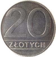 reverse of 20 Złotych - Smaller (1989 - 1990) coin with Y# 153.2 from Poland. Inscription: 20 ZŁOTYCH