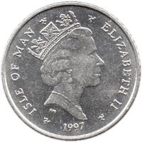 obverse of 5 Pence - Elizabeth II - 3'rd Portrait (1996 - 1997) coin with KM# 590 from Isle of Man. Inscription: ISLE OF MAN ELIZABETH II 1998