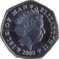 obverse of 50 Pence - Elizabeth II - 4'th Portrait (2000 - 2003) coin with KM# 1041 from Isle of Man. Inscription: ISLE OF MAN - ELIZABETH II 2000