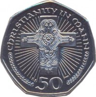 reverse of 50 Pence - Elizabeth II - 4'th Portrait (2000 - 2003) coin with KM# 1041 from Isle of Man. Inscription: CHRISTIANITY IN MAN