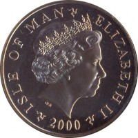 obverse of 5 Pounds - Elizabeth II - St Patrick's Hymn (2001 - 2003) coin with KM# 1044 from Isle of Man. Inscription: ISLE OF MAN ELIZABETH II 2000