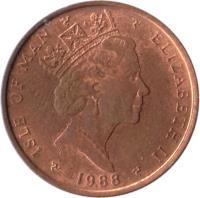 obverse of 1 Penny - Elizabeth II - 3'rd Portrait (1988 - 1995) coin with KM# 207 from Isle of Man. Inscription: ISLE OF MAN ELIZABETH II 1995