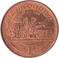 reverse of 1 Penny - Elizabeth II - 3'rd Portrait (1988 - 1995) coin with KM# 207 from Isle of Man. Inscription: ellan vannin 1