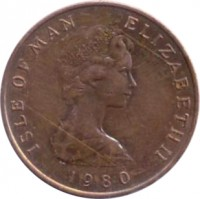 obverse of 2 Pence - Elizabeth II - 2'nd Portrait (1980 - 1983) coin with KM# 60 from Isle of Man. Inscription: ISLE OF MAN ELIZABETH II 1980