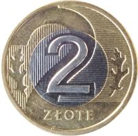 reverse of 2 Złote (1994 - 2015) coin with Y# 283 from Poland. Inscription: 2 ZŁOTE