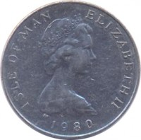 obverse of 5 Pence - Elizabeth II - 2'nd Portrait (1980 - 1983) coin with KM# 61 from Isle of Man. Inscription: ISLE OF MAN ELIZABETH II 1980