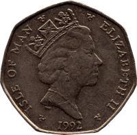 obverse of 20 Pence - Elizabeth II - 3'rd Portrait (1988 - 1992) coin with KM# 211 from Isle of Man. Inscription: ISLE OF MAN ELIZABETH II 1991