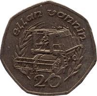 reverse of 20 Pence - Elizabeth II - 3'rd Portrait (1988 - 1992) coin with KM# 211 from Isle of Man. Inscription: ellan vannin 20