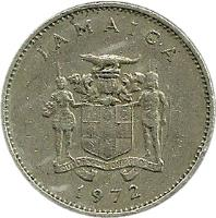 obverse of 10 Cents - Elizabeth II - Wide legend letters; Non magnetic (1969 - 1989) coin with KM# 47 from Jamaica. Inscription: JAMAICA OUT OF MANY, ONE PEOPLE 1969