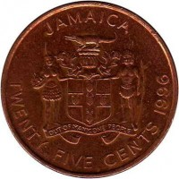 obverse of 25 Cents - Elizabeth II (1995 - 2003) coin with KM# 167 from Jamaica. Inscription: JAMAICA OUT OF MANY, ONE PEOPLE TWENTY FIVE CENTS 1996
