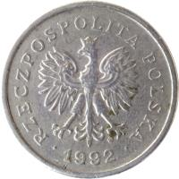 obverse of 1 Złoty (1990 - 2015) coin with Y# 282 from Poland. Inscription: RZECZPOSPOLITA POLSKA · 1992 ·