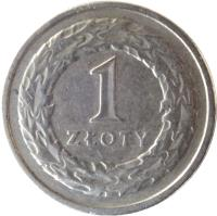reverse of 1 Złoty (1990 - 2015) coin with Y# 282 from Poland. Inscription: 1 ZŁOTY
