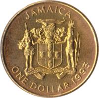 obverse of 1 Dollar - Elizabeth II - Non magnetic (1990 - 1993) coin with KM# 145 from Jamaica. Inscription: JAMAICA OUT OF MANY, ONE PEOPLE ONE DOLLAR 1991