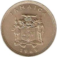 obverse of 20 Cents - Elizabeth II - Wide legend letters (1969 - 1990) coin with KM# 48 from Jamaica. Inscription: JAMAICA OUT OF MANY, ONE PEOPLE 1976