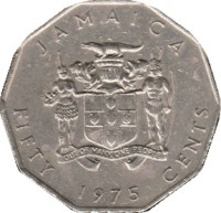 obverse of 50 Cents - Elizabeth II - Wide legend letters (1975 - 1990) coin with KM# 65 from Jamaica. Inscription: JAMAICA OUT OF MANY, ONE PEOPLE FIFTY 1975 CENTS