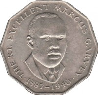 reverse of 50 Cents - Elizabeth II - Wide legend letters (1975 - 1990) coin with KM# 65 from Jamaica. Inscription: THE RT. EXCELLENT MARCUS GARVEY 1887-1940