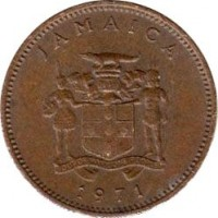 obverse of 1 Cent - Elizabeth II - FAO (1971 - 1974) coin with KM# 52 from Jamaica. Inscription: JAMAICA OUT OF MANY ONE PEOPLE 1971