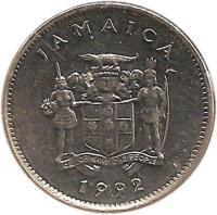 obverse of 5 Cents - Elizabeth II - Wide legend letters; Magnetic (1990 - 1993) coin with KM# 46a from Jamaica. Inscription: JAMAICA 1990