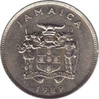 obverse of 25 Cents - Elizabeth II - Wide legend letters (1969 - 1990) coin with KM# 49 from Jamaica. Inscription: JAMAICA OUT OF MANY, ONE PEOPLE 1969