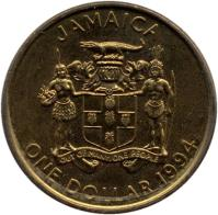 obverse of 1 Dollar - Elizabeth II - Magnetic (1993 - 1994) coin with KM# 145a from Jamaica. Inscription: JAMAICA ONE DOLLAR 1993 OUT OF MANY, ONE PEOPLE