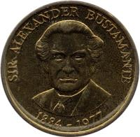 reverse of 1 Dollar - Elizabeth II - Magnetic (1993 - 1994) coin with KM# 145a from Jamaica. Inscription: SIR ALEXANDER BUSTAMANTE 1884-1977