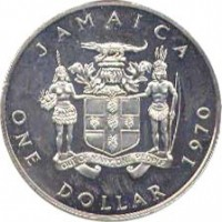 obverse of 1 Dollar - Elizabeth II (1969 - 1970) coin with KM# 50 from Jamaica. Inscription: JAMAICA OUT OF MANY, ONE PEOPLE ONE DOLLAR 1970