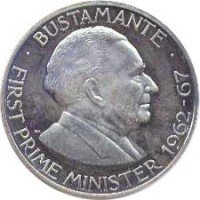 reverse of 1 Dollar - Elizabeth II (1969 - 1970) coin with KM# 50 from Jamaica. Inscription: · BUSTAMANTE · FIRST PRIME MINISTER 1962-67