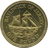 reverse of 1 Pound - Elizabeth II - 19th Century Jersey Shipbuilding - 4'th Portrait (1998 - 2006) coin with KM# 101 from Jersey. Inscription: BAILIWICK OF JERSEY RESOLUTE 1877 · ONE POUND ·